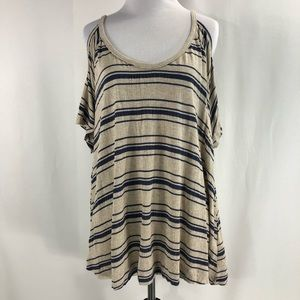 Lush Cold Shoulder Top Striped Size XL
